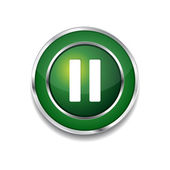 Pause Circular Vector Green Web Icon Button — Stock Vector
