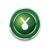 Medal Circular Vector Green Web Icon Button — Stock Vector