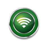 WIFI Circular Vector Green Web Icon Button — Vetor de Stock