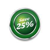 Save 25 Percent Glossy Shiny Circular Vector Button — Stock Vector