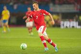 Austria vs. Sweden. Marko Arnautovic — Stock Photo