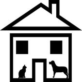 House, a dog, a cat. — Stock Photo