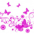 Stock Photo: Abstract floral background with butterfly.