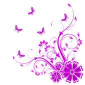 Abstract floral background with butterflies. — Stock Photo