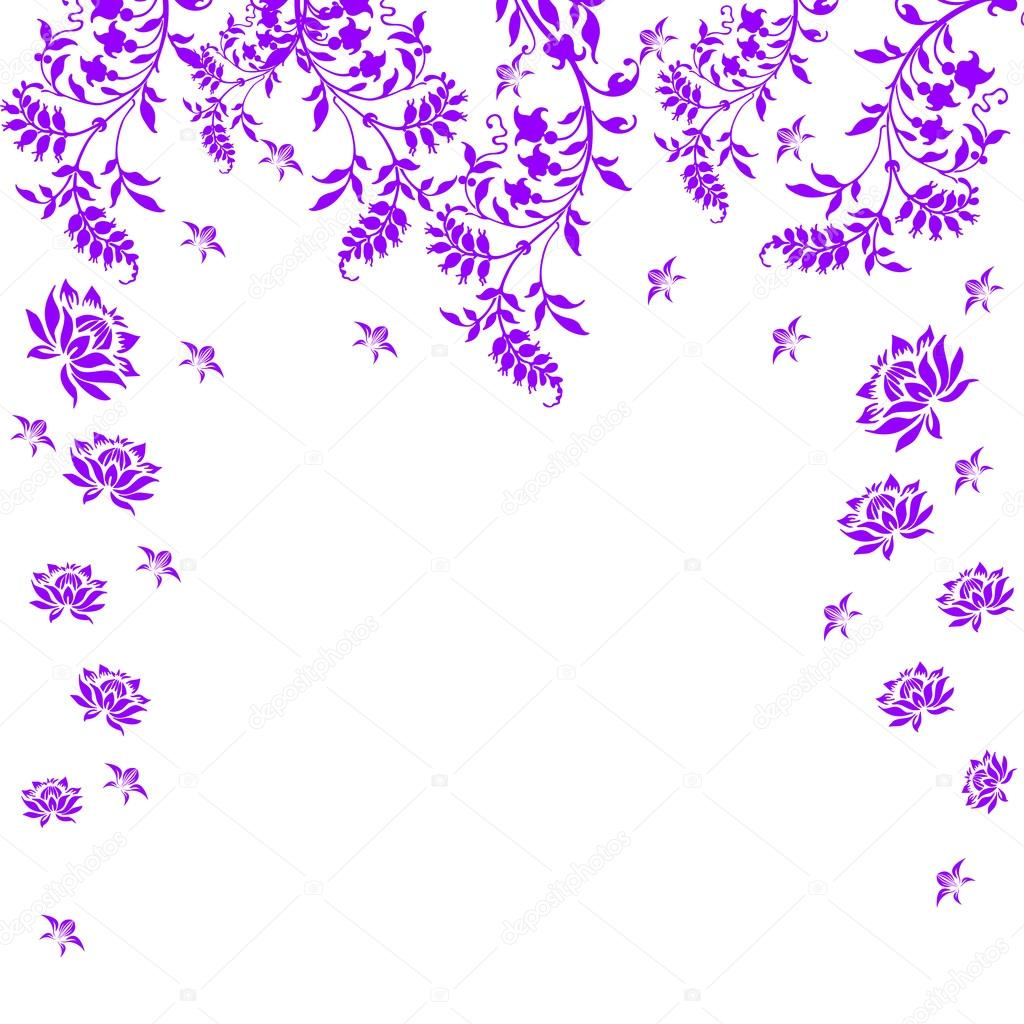   Violet floral card on a white background  Stock Photo #17176337
