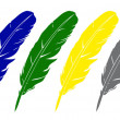 Vector feather. Four variants of color. — 图库照片