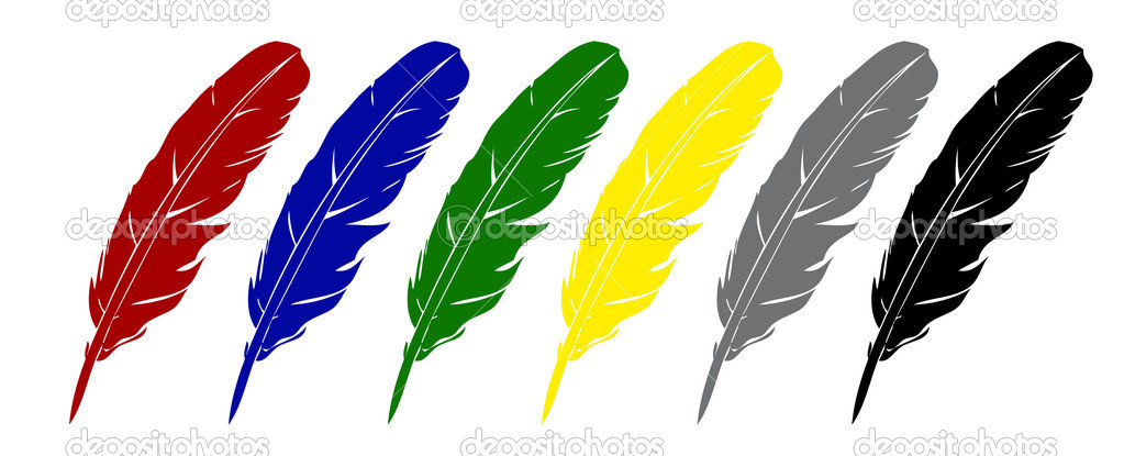 Vector feather. Four variants of color.  — Stock Photo #17633265