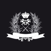 Black And White Ornate Heraldic Art Deco Quad — Stock Photo