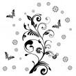 Decorative vector ornament. Vector floral ornament with butterf - ストック写真