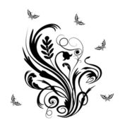 Vector floral ornament with butterfly! — Stock Photo