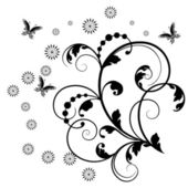 Vector floral ornament with butterfly!! — Stock Photo