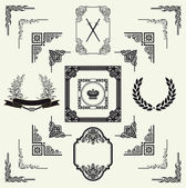 Vector set of decorative horizontal floral elements, corners, — ストック写真