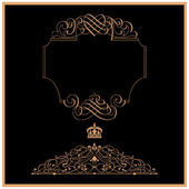 Eleganckie ramki złoto baner z korony — Zdjęcie stockowe