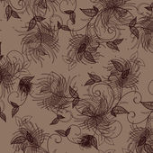Wallpaper with floral ornament with leafs and flowers — Stock Photo