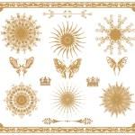 Vector set of gold decorative elements — Stock Photo #19161955