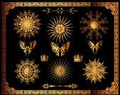 Vector set of gold decorative elements. — Stock Photo