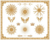 Vector set of gold decorative elements — Stock Photo
