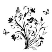 Floral ornament with butterfly — Stock Photo