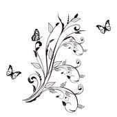 Floral ornament with butterfly. — Stock Photo