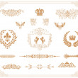 Vector set of gold decorative horizontal floral elements! — Stock Photo