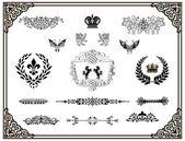 Vector set of black decorative horizontal floral elements!! — Stock Photo