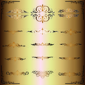 Calligraphic design gold elements. — Stock Photo