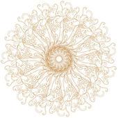 Decoratieve goud en frame met vintage ronde patronen op wit — Stockfoto