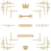 Set vector d'or élément décoratif de floral horizontal — Photo