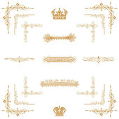 Vector set of gold decorative horizontal floral element — 图库照片