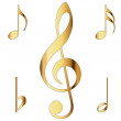 Stock Photo: Various musical notes in gold