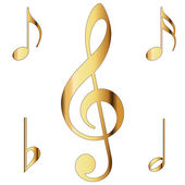Various musical notes in gold — Stock Photo