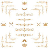 Set of gold decorative horizontal floral elements — ストック写真