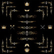 Set of gold decorative horizontal floral elements! - Stok fotoğraf