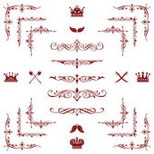 Set of red decorative horizontal floral elements! — Stock Photo