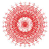 Decorative red and frame with vintage round patterns on white!! — Stock Photo