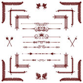 Vector set of red decorative horizontal floral elements, corner — Stock Photo