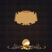 Banner elegante montatura in oro con corona!! — Foto Stock