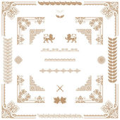 Vector set of gold decorative horizontal floral elements, corne — 图库照片