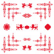 Vector set of red decorative horizontal floral elements, corner — ストック写真