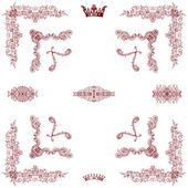Vector set of red decorative horizontal floral element.. — Stock Photo