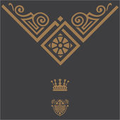 Elegant gold frame banner with crown, floral elements on the or — ストック写真