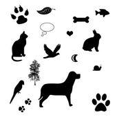 Kedi ve köpek simgeler - evde beslenen hayvan aşk kavramı ile vektör çerçeve — Stok fotoğraf