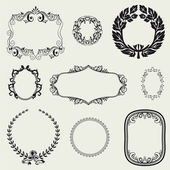 Set of vintage frames and design elements. — Stock Photo