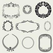 Set of vintage frames and design elements. — Stock Photo