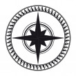 Stock Photo: Black compass rose isolated on whte - vector!
