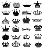 Crown collection (crown set, silhouette crown set) — 图库照片