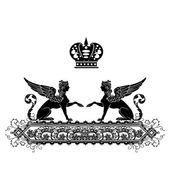 Elegant black frame banner with crown — Foto de Stock