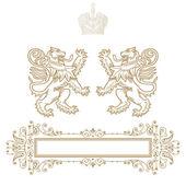 Banner de elegante moldura ouro com coroa — Foto Stock