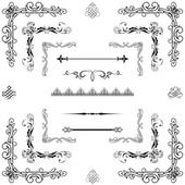 Vector set of gold decorative horizontal floral elements, corne — Stock Photo