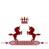 Red frame banner with crown — Stock Photo